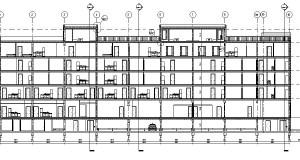 bouwvoorbereidingstekeningen_woonbedrijfsgebouw - Section - Langsdoorsnede